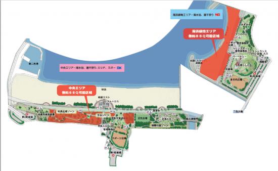 二色の浜海水浴場内の地図