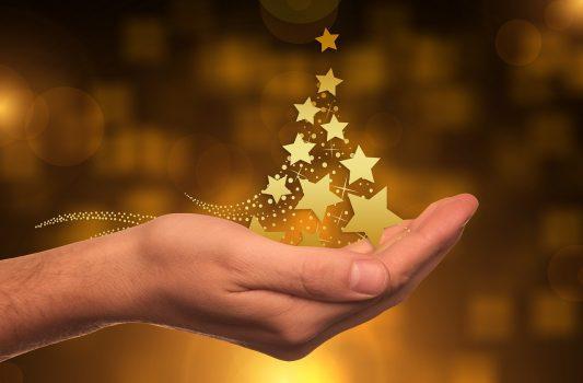 星が手のひらに沢山あつまっている