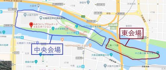 大阪光のルネサンス 中央会場 東会場地図